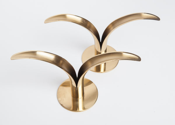 Brass Candle Holders by Ivar Alenius-Bjork for Ystad Metall