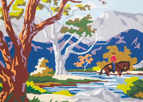 Colorful Paint By Numbers Cowboy Landscape Painting