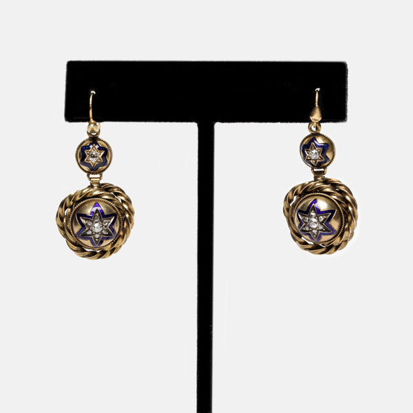 Victorian Gold and Blue Star Earrings