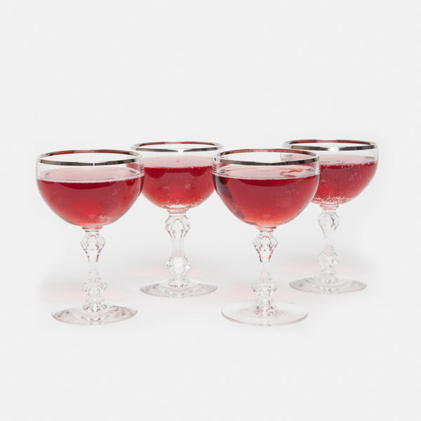 Set of Four Tiffin Silver Rim Champagne Glasses
