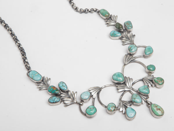 Handmade Sterling Silver and Turquoise Necklace by Darrin Livingston