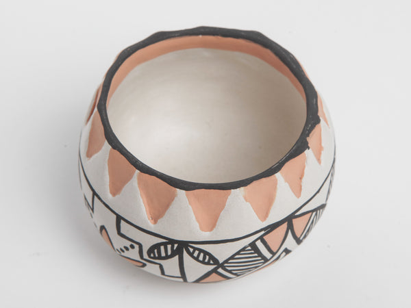 Hand-Painted Cream, Pink & Black Pot