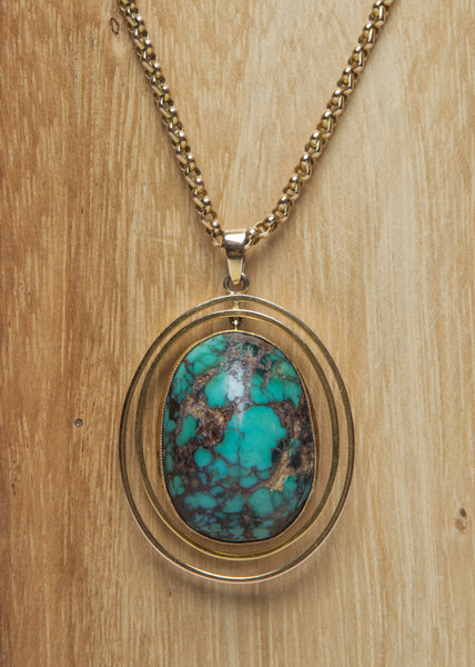 Gold and Turquoise Pendant Necklace