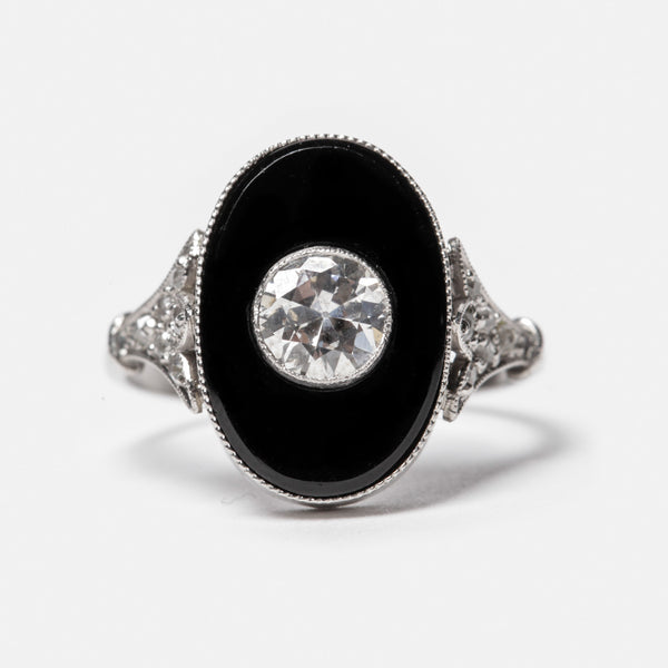 Onyx and Diamond Ring