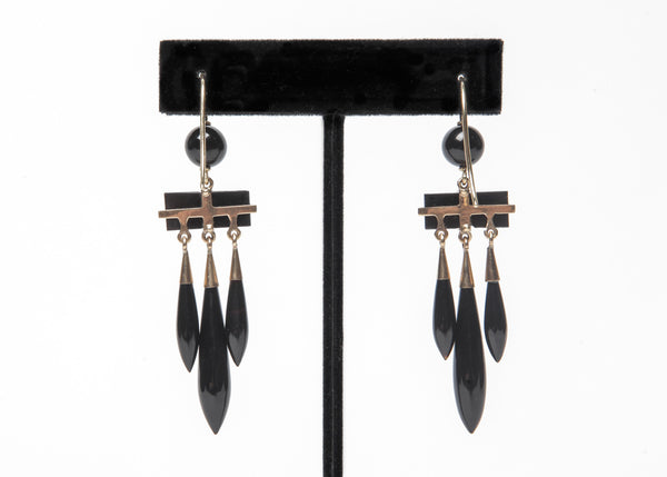 Onyx and Gold Drop Earrings