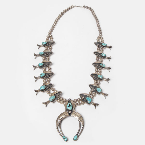 Turquoise and Silver Navajo Necklace
