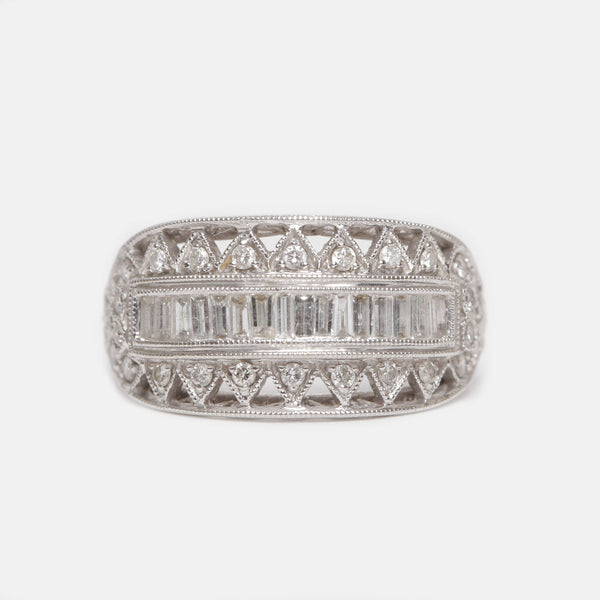 Geometric Antique Diamond Ring