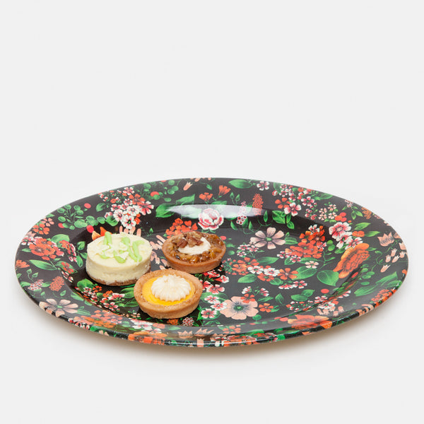 Tin Floral Serving Plates