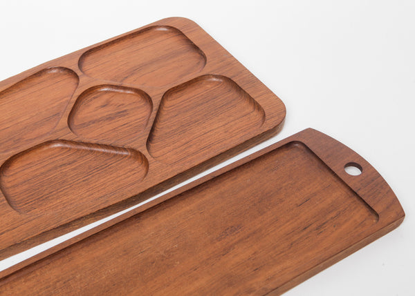 Set of Two Mid-Century Modern Scandinavian Serving Trays
