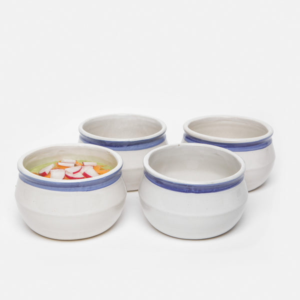 Set of Four Blue and Cream Ceramic Bowls