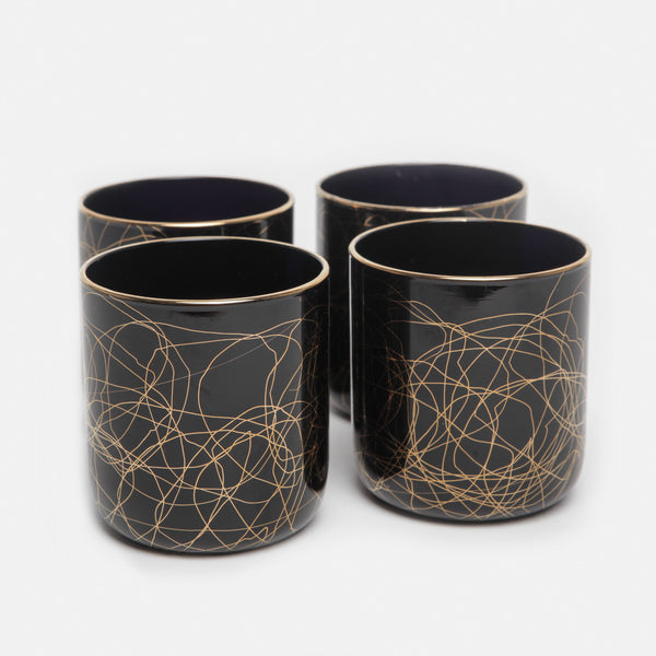Set of Four Black Glasses with Gold Detailing