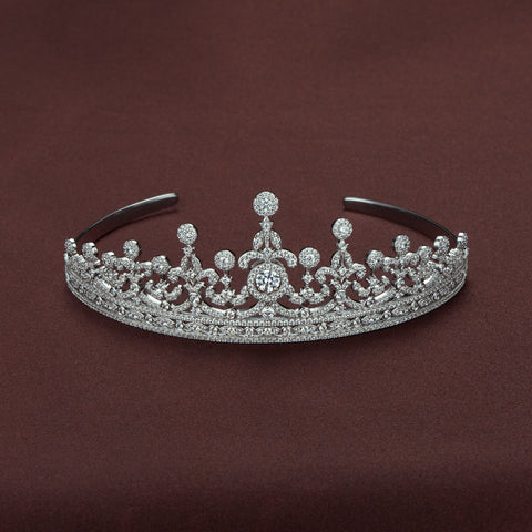 DANCING STONE BRIDAL TIARA IN STERLING SILVER
