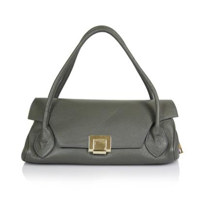 Double Long Handles Leather Shoulder Bag Made in Italy