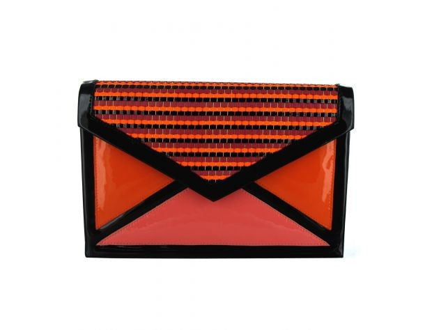 MENBUR PATENT ORANGE-CORAL CLUTCH BAG