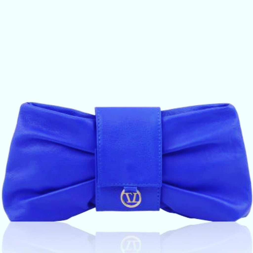 CLUTCH LEATHER BLUE BAG