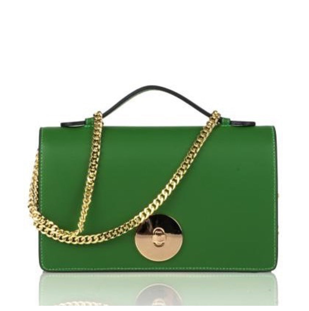 Green chain shoulder bags, evening clutch bags