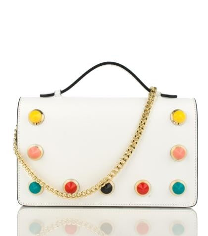 100% MADE IN ITALY CLUTCHES SHOULDER BAGS WITH COLORED STUDS.