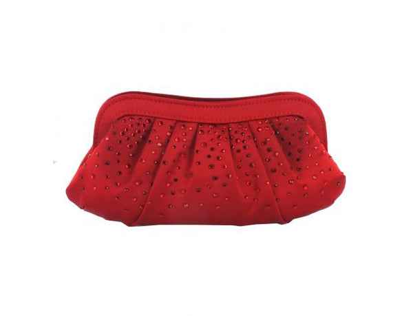 Women's Satin Red Diamanté Clutch Bag