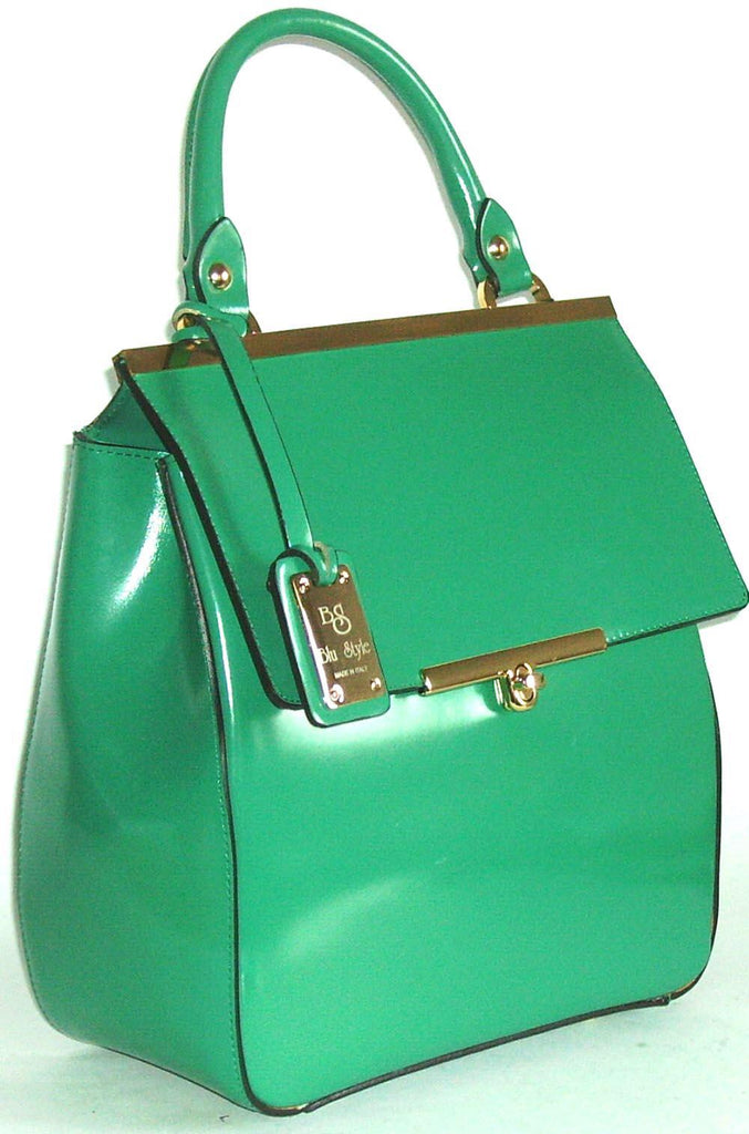 100% MADE IN ITALY GREEN LARGE TOTE BAG