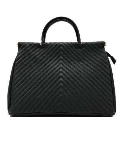 Quilted Black Large Leather Tote Bag Made in Italy