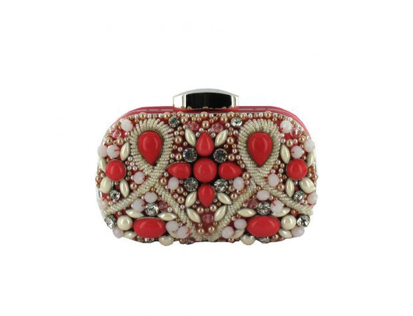 Women's Coral Jewelled Clutch Bag