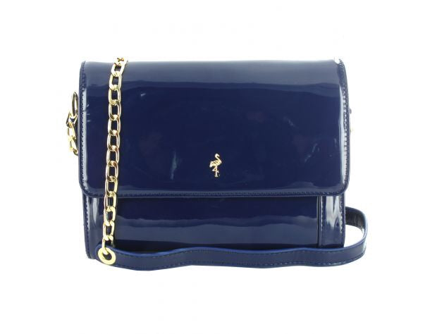 Women's Patent Blue Clutch Shoulder Bag