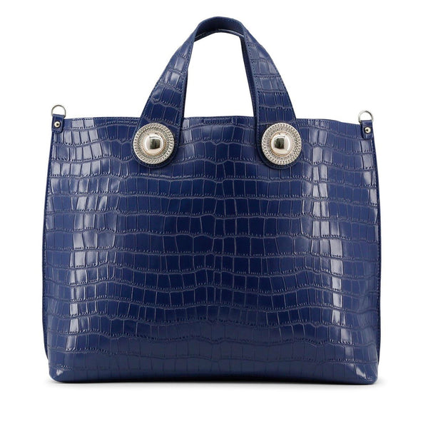 Versace Top Handle Patent Blue Shopping Bag