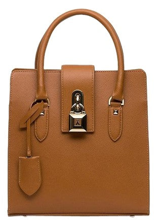 Patrizia Pepe Lock Fly Shopper Tan Top Handle Leather Bag