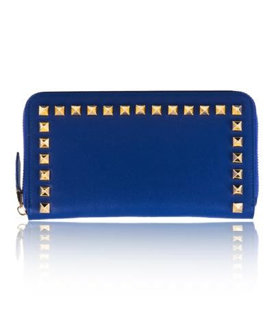 100% MADE IN ITALY BLUE WOMENS STUDED PURSE/WALLET