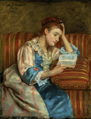 Mary Cassatt, Mrs. Duffee Seated on a Striped Sofa, Reading