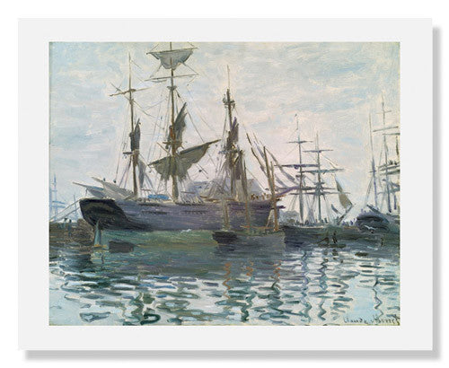 MFA Prints archival replica print of Claude Monet, Ships in a Harbor from the Museum of Fine Arts, Boston collection.