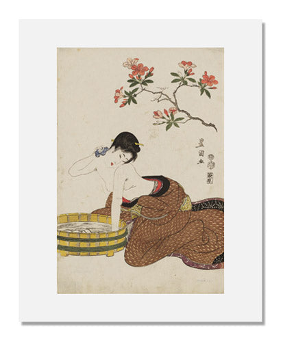 Utagawa Toyokuni I, Azaleas: Woman Washing Her Neck, from an untitled series of beauties and flowers