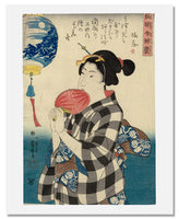 MFA Prints archival replica print of Utagawa Kuniyoshi, Admiring a Lantern with a Painted Landscape from the Museum of Fine Arts, Boston collection.