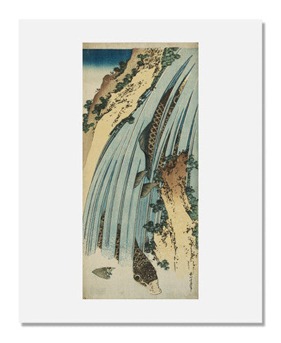 Katsushika Hokusai, Two Carp in Waterfall