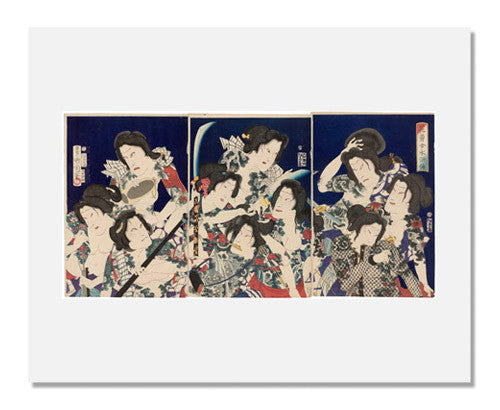 MFA Prints archival replica print of Toyohara Kunichika, A Shuihuzhuan of Beautiful and Brave Women from the Museum of Fine Arts, Boston collection.
