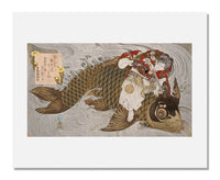 MFA Prints archival replica print of Totoya Hokkei, Oniwakamaru and the Giant Carp from the Museum of Fine Arts, Boston collection.