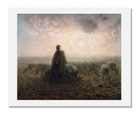 MFA Prints archival replica print of Jean François Millet, Shepherdess and Flock at Sunset from the Museum of Fine Arts, Boston collection.