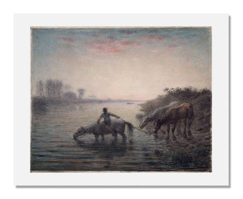 MFA Prints archival replica print of Jean François Millet, Watering Horses, Sunset from the Museum of Fine Arts, Boston collection.