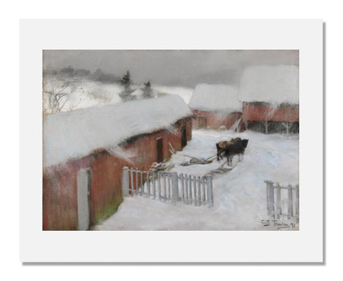 Frits Thaulow, Farmyard in the Snow