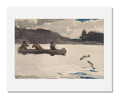 MFA Prints archival replica print of Winslow Homer, Fishing for Ouananiche, Lake St. John, P.Q. Canada, no.2 from the Museum of Fine Arts, Boston collection.