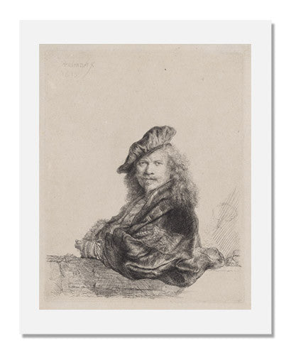 MFA Prints archival replica print of Rembrandt van Rijn, Self Portrait Leaning on a Stone Sill from the Museum of Fine Arts, Boston collection.