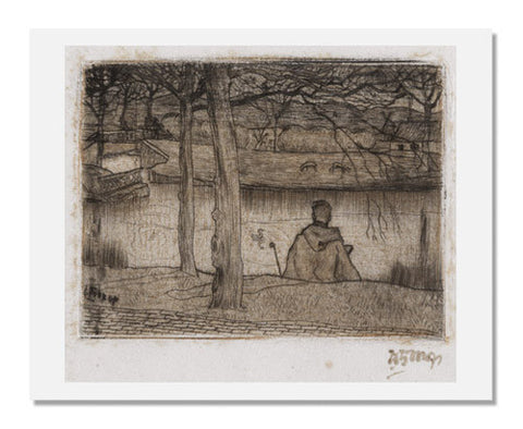 Johannes Theodorus Toorop, Artist sketching along the river
