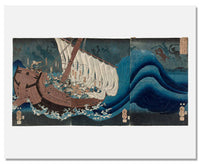 MFA Prints archival replica print of Utagawa Kuniyoshi, The Ghosts of the Taira Attack Yoshitsune in Daimotsu Bay from the Museum of Fine Arts, Boston collection.