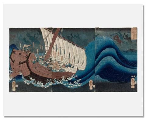 Utagawa Kuniyoshi, The Ghosts of the Taira Attack Yoshitsune in Daimotsu Bay