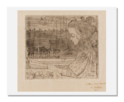 MFA Prints archival replica print of Johannes Theodorus Toorop, Charley before the Window from the Museum of Fine Arts, Boston collection.