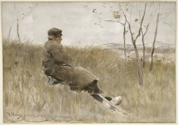 Anton Mauve, Shepherd Watching his Flock