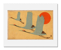 MFA Prints archival replica print of Sugiura Hisui, Cranes and Sun from the Museum of Fine Arts, Boston collection.