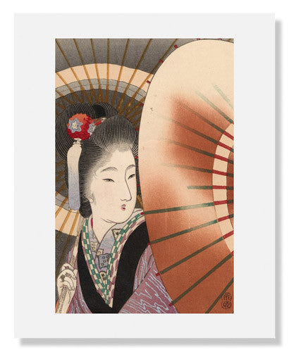 MFA Prints archival replica print of Tomioka Eisen, Woman with Umbrellas from the Museum of Fine Arts, Boston collection.