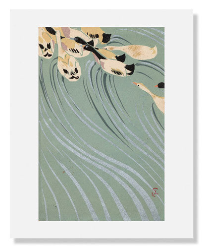 MFA Prints archival replica print of Uzaki Sumikazu, Ducks Swimming Upstream from the Museum of Fine Arts, Boston collection.