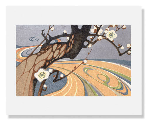 Blossoming Plum Tree by a River